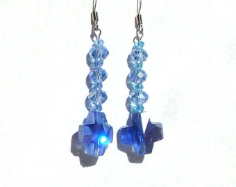 Blue crystal cross dangle earrings