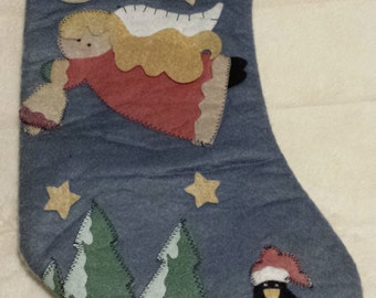 Finished lined felt Christmas stocking w/felt applique angel ringing a bell/trees/stars/penguin on a sled-blue green rose