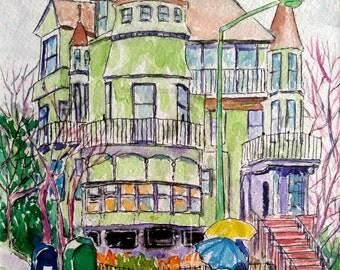 Original watercolor, cityscape, house, New Jersey