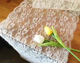 """Lace Runner for Weddings and Special Events - 14"""" Wide Lace Runner - Rustic Wedding - Table Runner Scalloped Edges - White, Black, Ivory"""