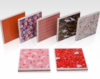 Ceramic Tile Coasters - Japanese Patterns (Set of 4)