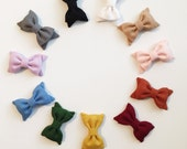 Solid Colored Mini Classic Bows On Clip or Elastic