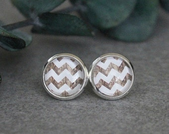 White Chevron Earrings, White Stud Earrings, Wood Earrings, White Earrings, White Post Earrings, Chevron Stud Earrings, 10MM Earrings