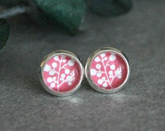 Pink Flower Earrings, Pink Stud Earrings, Pink Floral Earrings, Bright Pink Earrings, Pink Post Earrings, Floral Stud Earrings, 8MM Studs
