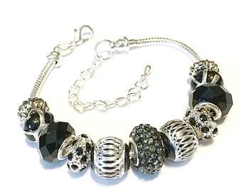 Black Charm Bracelet, Black Bracelet, Black Bead Bracelet, Black Beaded Bracelet, Black Bangle Bracelet, Black and Silver Bracelet, Black