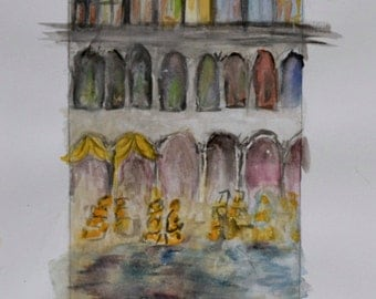 """Watercolor 4x6""""   """"Venetian Floods"""" on 9x12"""" acid free, microperforated paper"""