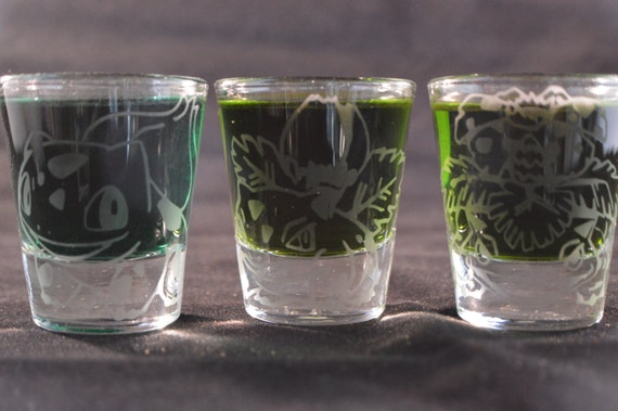Bulbasaur, Ivysaur, Venusaur engraved shot glass set of 3
