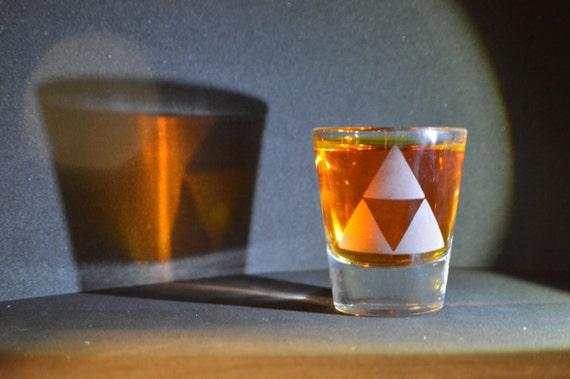 Zelda Triforce LoZ Etched shot glass Fan Art