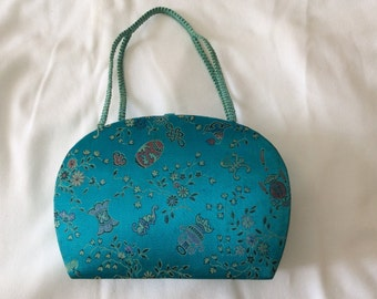 Vintage Chinese Turquoise Silk Purse/Make Up Case