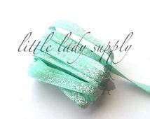 "Sweet Mint Glitter Elastic 3/8"",you choose yards, wholesale, glitter, headbands, elastic, ribbon, seafoam"