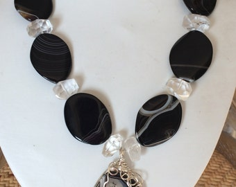 Clean and Crisp Quartz and Onyx Beaded Necklace with Pendant