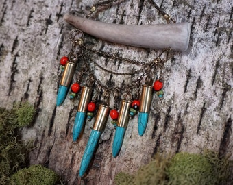 Antler Tip Short Necklace with Turquoise Howlite Spikes, Brass Chain, Red Seeds and Turquoise Beads