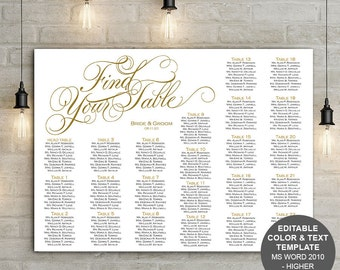 Elegant wedding seating chart, template, printable, Find your table, wedding sign, seating plan, S15