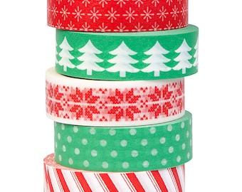 Christmas Washi Tape, Set of 5 rolls, Holiday Washi Tape, Red & Green Washi, Christmas Gift Wrap Tape