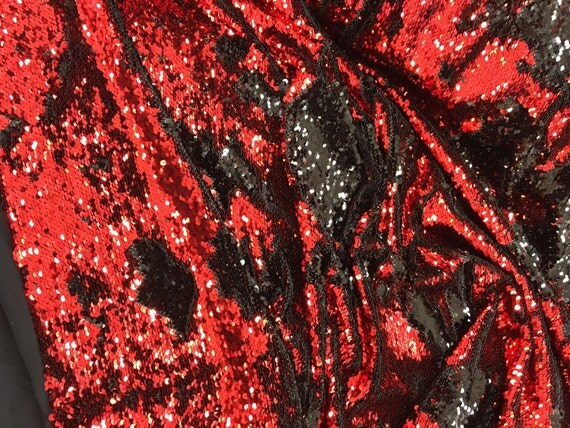 Red/black hologram mermaid fish scales- 2 way stretch ...
