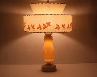 Mid Century Atomic Lamp, 1950s 2 tiered Lamp, Opalescent Allacite  Aladdin Lamp Co Retro