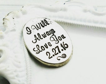 Personalized pocket coin - Hand Stamped Pocket Coin - Pocket Token - Father of the Bride gift - I love you forever coin - wedding date coin
