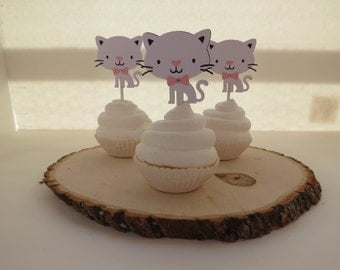 Little Kitty Cat - Cupcake Toppers - Set of 12