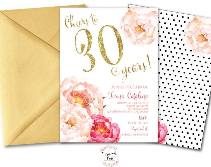 Peony 30th Birthday Invitation // Peonies // Birthday Invitation // Pink // Gold Glitter // Polka Dots // CALABASAS COLLECTION
