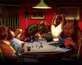 Dogs Playing D&D (5th edition version) - Full Color Poster
