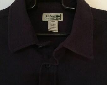 Vintage Medium LL Bean 90's Flannel Hunting Fishing Purple Shirt M Medium