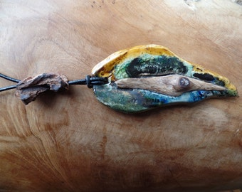 "Artistically designed pendant  ""Ceramics with wood"""
