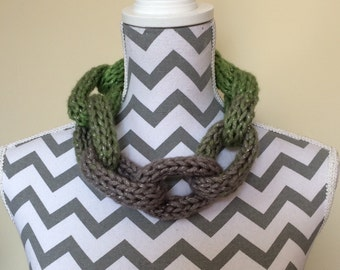 Knitted chain link effect ladies scarf, necklace, cowl, neck warmer - metallic grey and green
