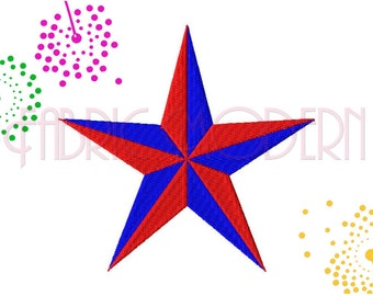 Machine Embroidery Design,  Texas Star collection, two color 8 sizes from 1 to 4.5 inches, #376