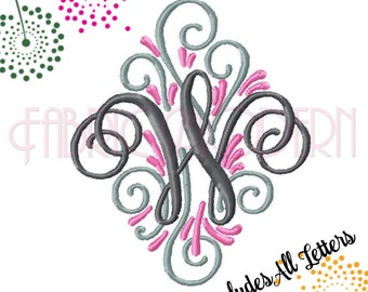 Adorn THREE COLOR fancy MONOGRAM Embroidery Font Design, for 4x4 hoop, All letters,includes bx vintage look fancy ornate, #430