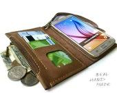 Samsung Galaxy s7 s4 s5 s6 Edge Plus case wallet - coffee brown leather case wallet - iPhone 4 5 6 plus case wallet - handmade wallet