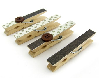 Decorative Clothespin Magnets, Set of 4, Magnetic Clips, Refrigerator, Magnet Clips, Strong Magnets, Buttons, Dark Brown, Cream, Pattern
