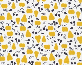 Apple and Pear - Gold - Organic cotton fabric