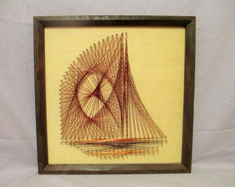String Art Sailboat, Mid Century String Art, Copper Wire Sailboat, Sailing Ship Picture, MCM Boat Wall Art, Vintage Nautical String Art