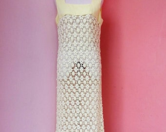 Vintage 60s-70s Yellow Knitting Maxi Dress