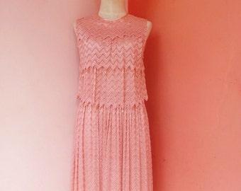 Vintage 80s Rose Pink Lace Japanese Dress