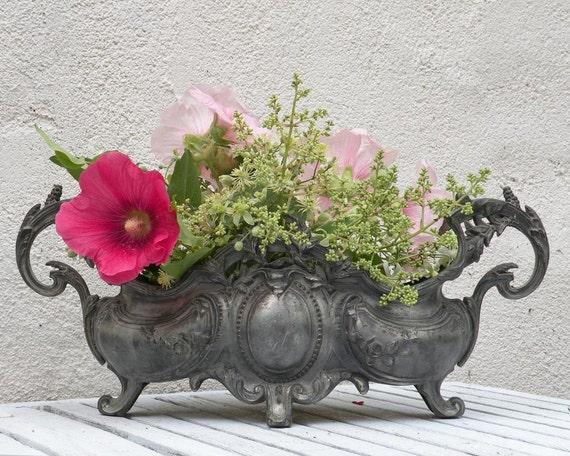 French antique art nouveau planter, ornate metal jardiniere, Paris apartment, French maison, country home, romantic, shabby chic,