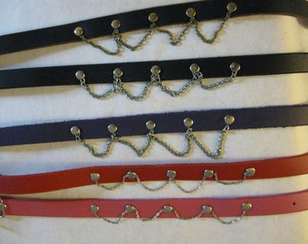 Studded and Chained Leather Choker/Collar