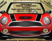 Red Mini Cooper Style Printable Photo Booth Prop Bright Red, Digital Download DIY, PhotoBooth, Mini Cooper Prop, Mini Photo Prop Cars Prop