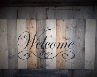 Welcome Sign, LARGE wood welcome sign, Distressed welcome sign, custom made welcome sign, welcome sign for the home, welcome sign for porch