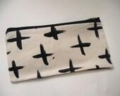 Minimalist canvas zip pouch - black white plus - christmas stocking stuffer