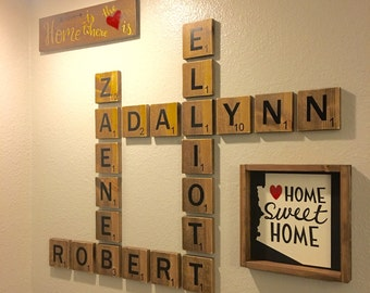 Name Wall Art family letter wall art oversized letters to display family