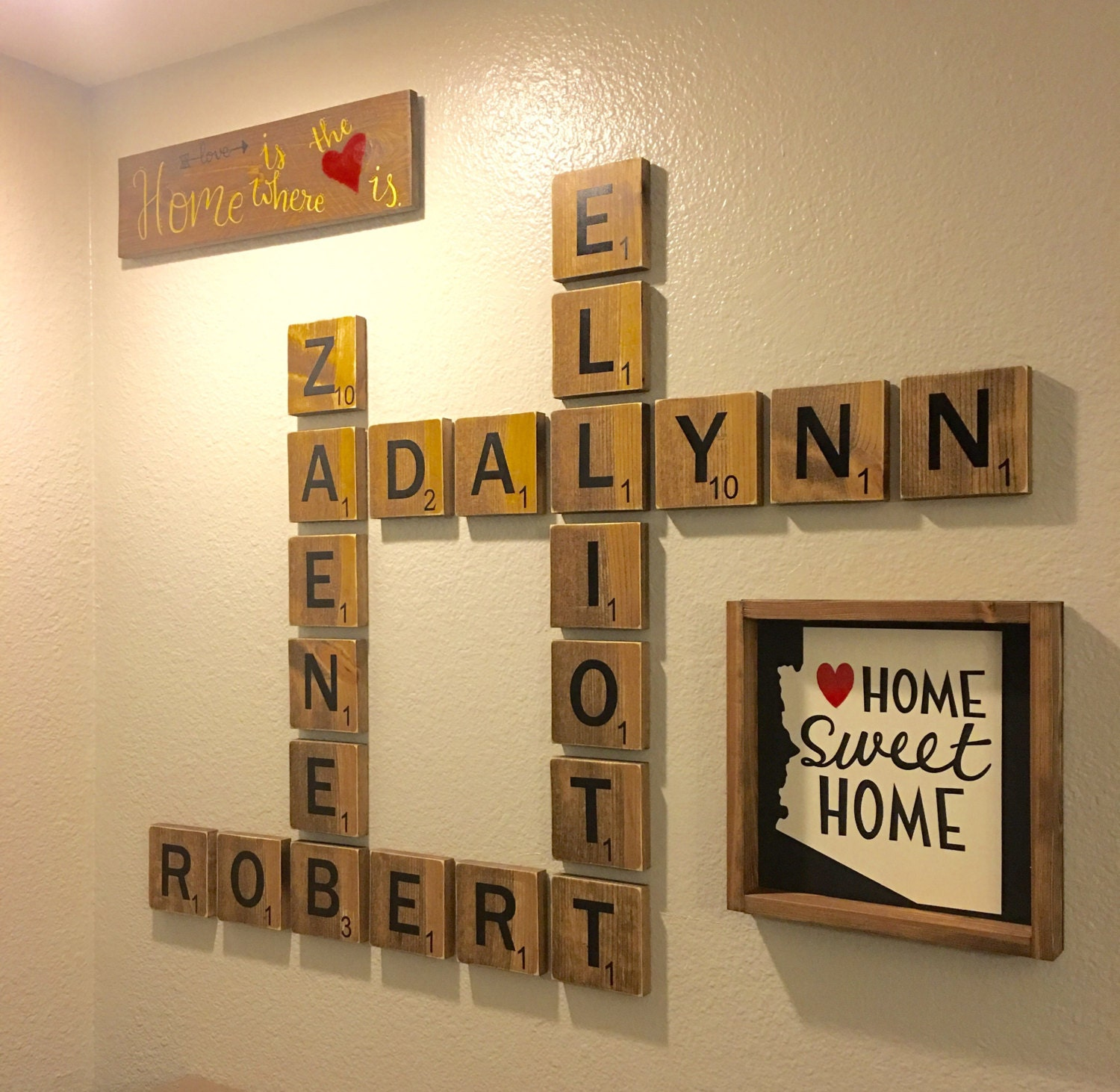 Wood Name Wall Decor : Wooden letter tiles personalized name large wood