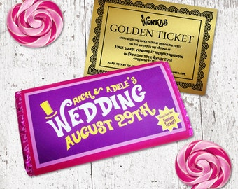 Willy Wonka Personalised Chocolate Bar Wrapper with Golden Ticket Invitation - DESIGN FILE ONLY