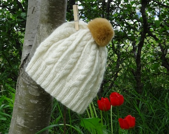 White authentic Icelandic wool / angora hat with brown fur pom pom – hand knitted in Iceland