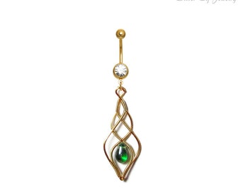 Belly ring Elven Light, Navel belly ring, elven navel ring, elven body jewelry, gold and green navel ring, summer Jewelry, elf costume