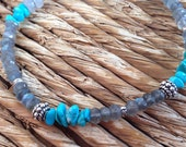 Labradorite, Arizona Turquoise & Sterling Silver Beaded Bracelet