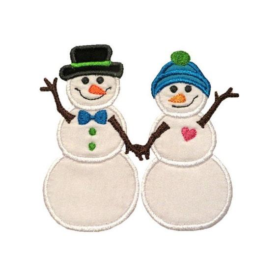 Snowman couple applique machine embroidery digital design