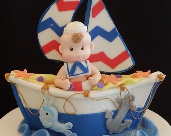 Sailor Cake Topper Nautical Baby Shower Blue Boat Cake Toppers
