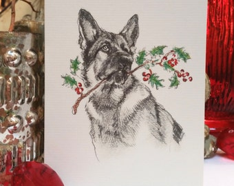 German Shepherd Dog Holiday Card