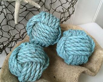 Nautical rope knot balls - 3 decorative nautical blue bowl fillers - coastal home decor - nautical ornaments - decorative monkey fist knots